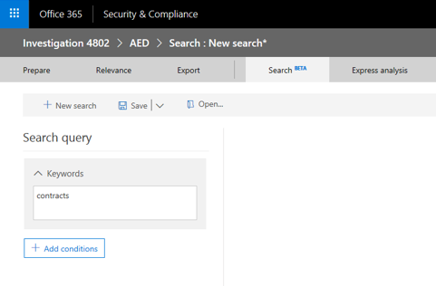 Create a new search within a case for specific queries and conditions