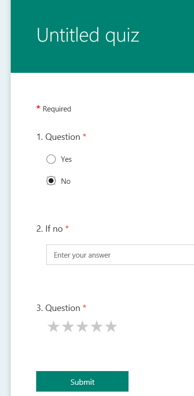If I select no, appropriate question appears