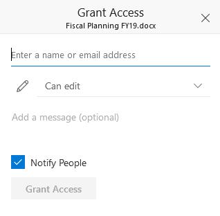 New Grant Access Dialog