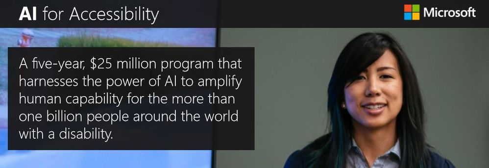 AI for Accessibility: a $25 million dollar fund that harnesses the power of AI to amplify human capability for the more than one billion people around the world with a disability.