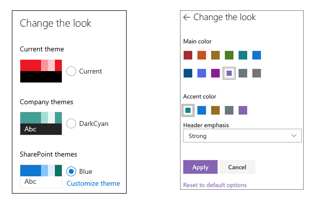 You can now apply additional color with Header emphasis when you change the look of your SharePoint site.