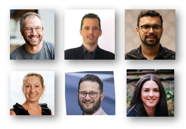 Left to right, top to bottom: Mark Kashman – senior product manager (SharePoint/Microsoft) [host], Chris McNulty – senior product manager (SharePoint/Microsoft) [co-host], Vishal Sood – partner group program manager (Stream/Microsoft), Christina Torok – product marketing manager (Stream/Microsoft) [guest], David Kaganovsky - Global Chief Technology Officer (Wavemaker), and Suzy Dean – CEO (AddIn365) [guest].