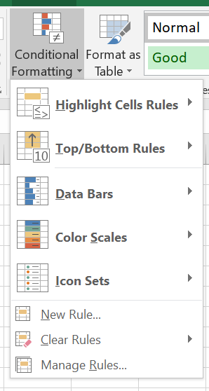 The options for conditional formatting are shown: highlight cells rules, top/bottom rules, data bars, color scales, icon sets, and options to create new rules, clear rules, and manage rules
