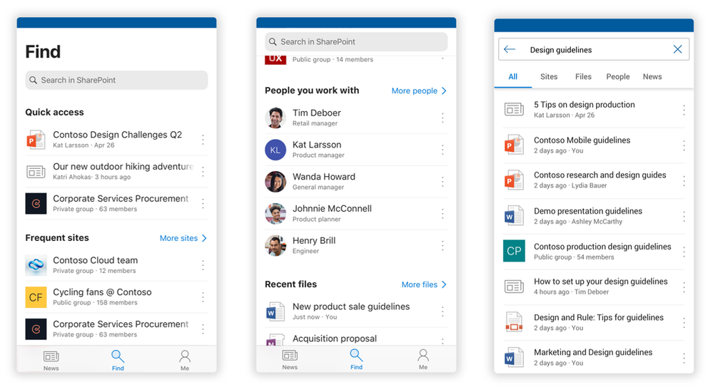 """The Find tab, coming to the SharePoint mobile app, uses AI to help you find people, content, and answers to your questions while on the go. Left-to-right: 1) the Find tab on an iPhone, 2) the Find tab on an iPhone after scrolling, and 3) the Find tab showing search results on an Android device after typing """"Design guidelines"""" and tapping the search icon."""