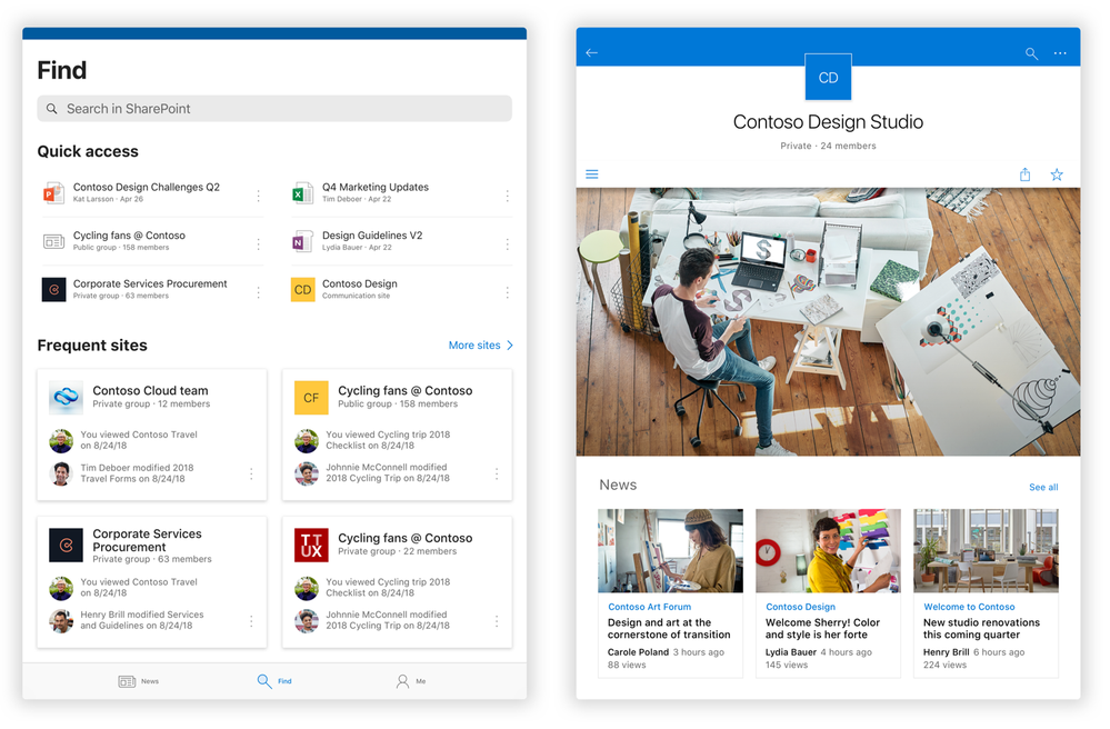 On the left, the new SharePoint mobile app Find tab as seen on an iPad, and on the right, the home page experience when you click into a SharePoint team site.