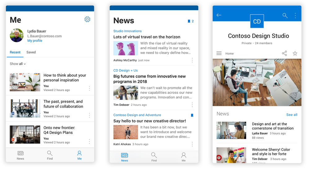 Updated views on several experiences within the SharePoint mobile app. From left-to-right: the Me tab on an Android device, 2) the News tab an Android device, and 3) a SharePoint team site on an iPhone.