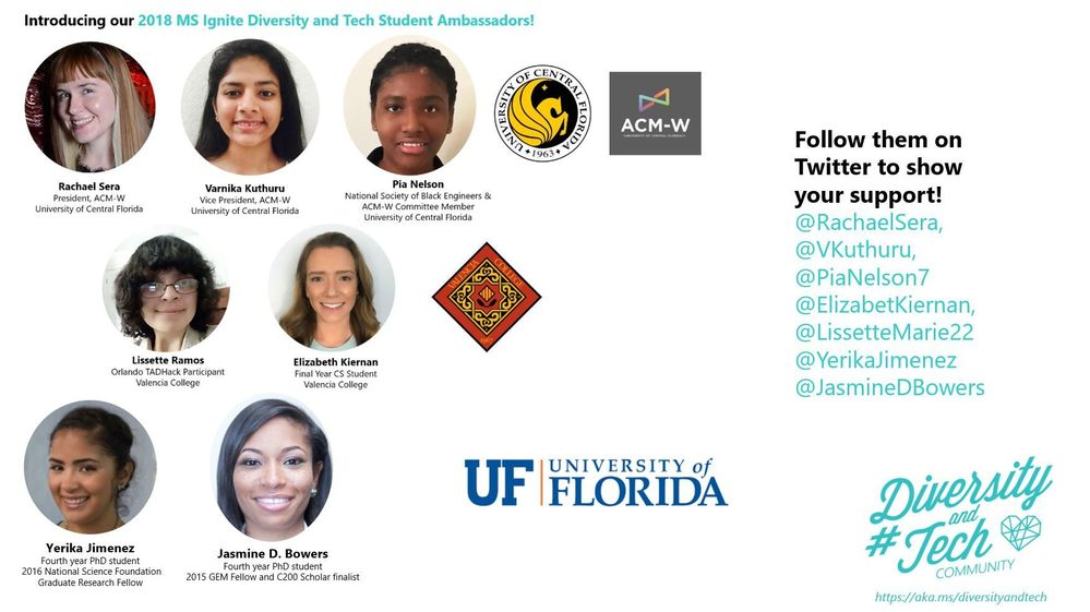 Say hello to our 2018 Diversity and Tech Student Ambassadors from UF, UCF and Valencia College! They'll be at #MSIgnite all week so be sure to schedule Idea Swaps with them!