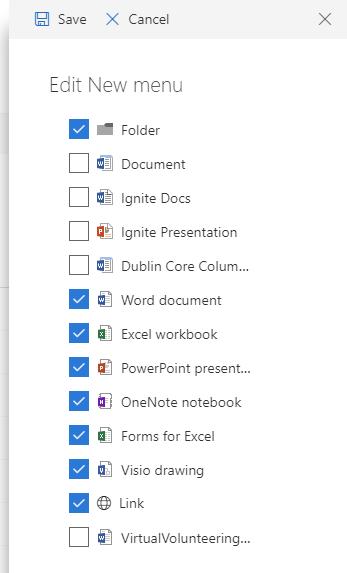 """Editing the """"New"""" menu"""