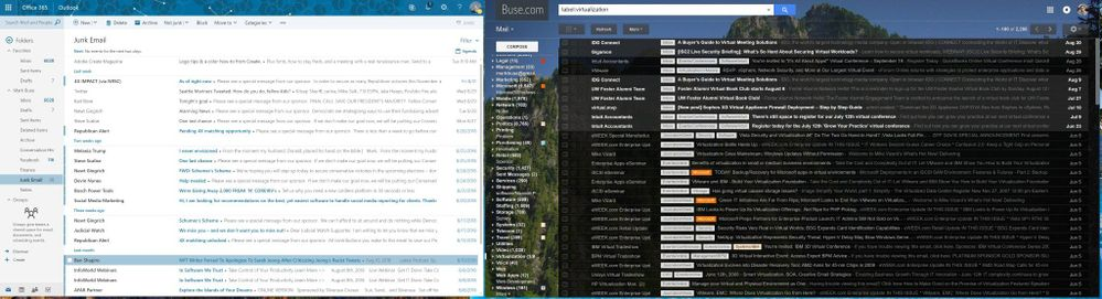 Blinding white Outlook 365 on the left, comfortable Gmail on the right.