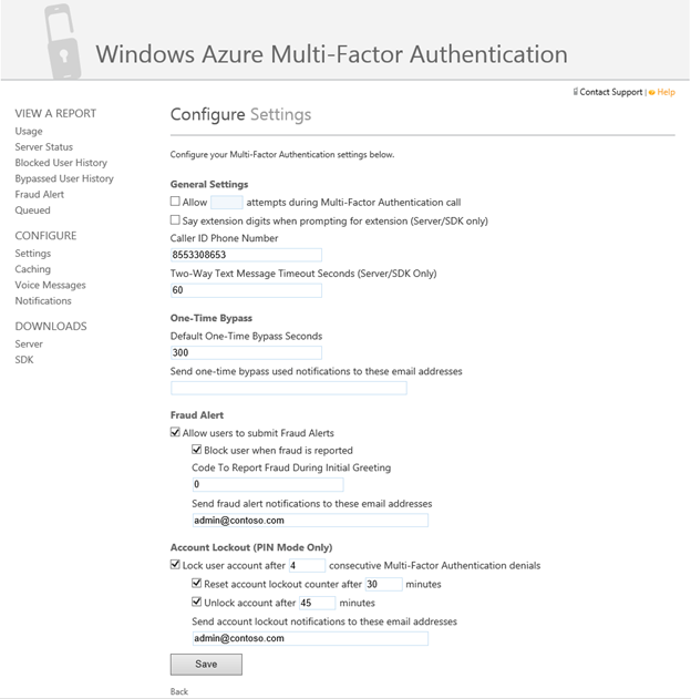 Mfa for office 365 and mfa for azure microsoft tech community 243470 configure the caller id phone number fraud alert account lockout and other settings in the mfa management portal by clicking configure on the welcome m4hsunfo