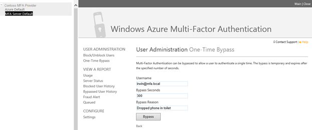 Mfa for office 365 and mfa for azure microsoft tech community 243470 a one time bypass can be granted to users through the mfa management portal you may have to select the azure default mfa server default group or m4hsunfo