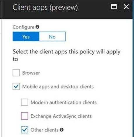 Azure AD Conditional Access support for blocking legacy auth is in