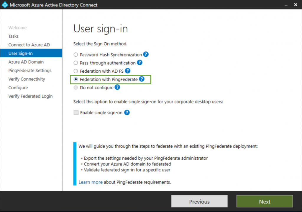 Azure AD Connect configuration for PingFederate is now