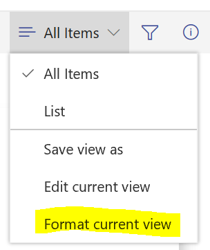 Format current view