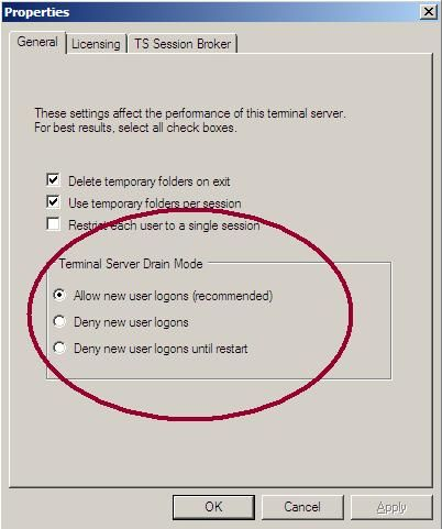 Introducing Terminal Services Server Drain Mode - Microsoft