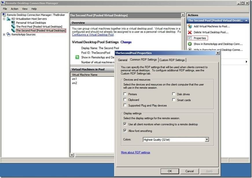 Customize RDP settings for Virtual Desktops - Microsoft Tech