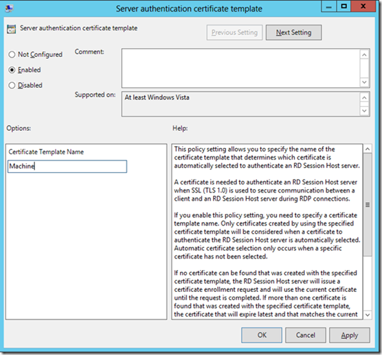 Improvements to configuring Remote Desktop Service Host