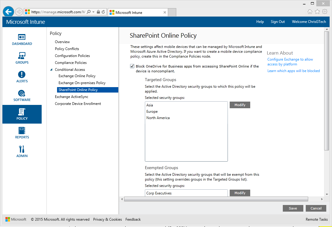 Conditional Access for SharePoint Online with Microsoft Intune