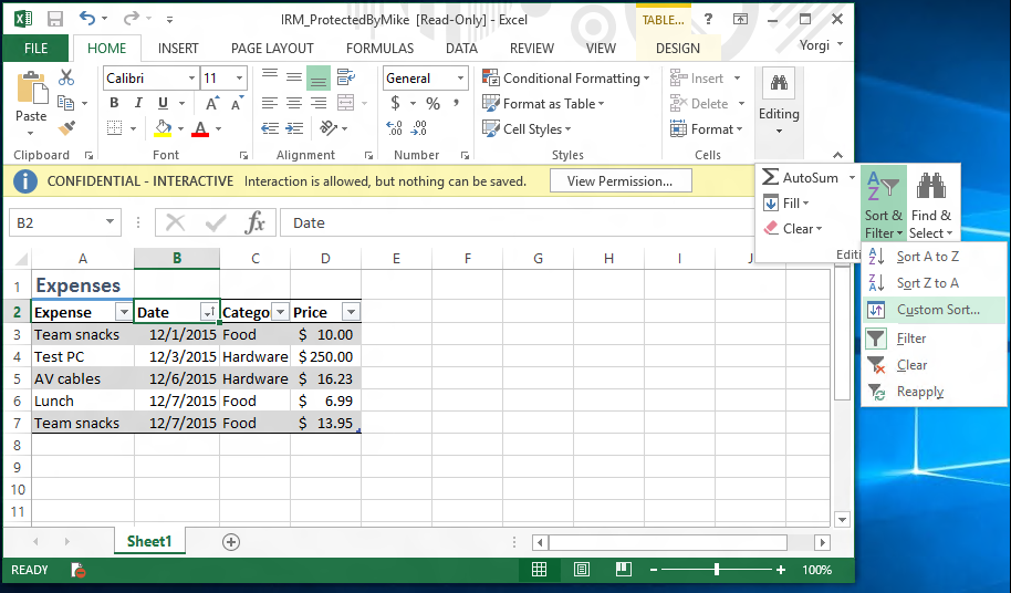 how to make excel file read only when opened by another user