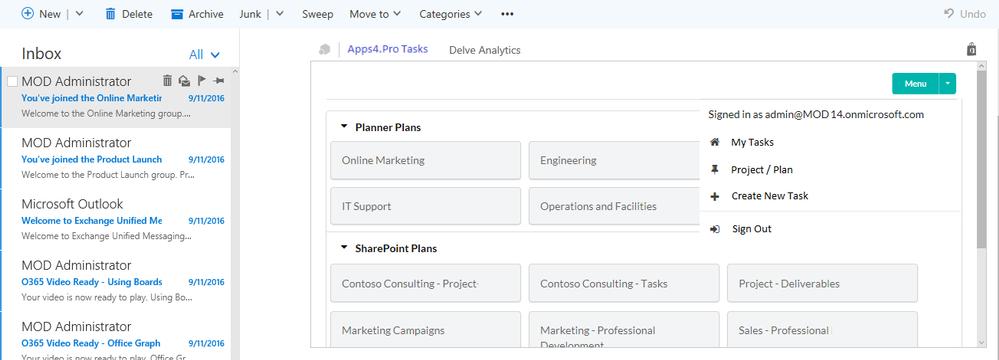 Lists all Planner Plans / SharePoint tasks list