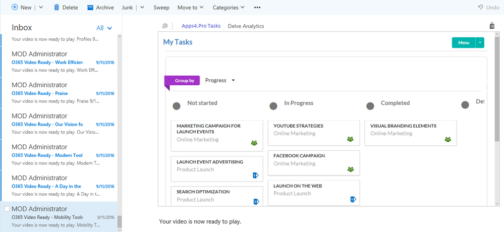 View 'My Tasks' from SharePoint and Planner
