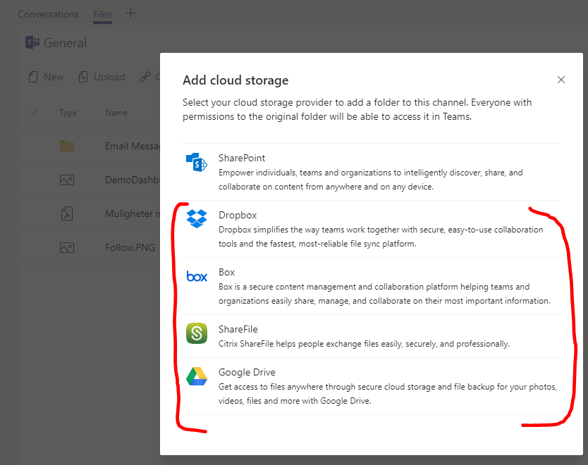Seeing the list of the additional storage providers. I only want SharePoint to be available.