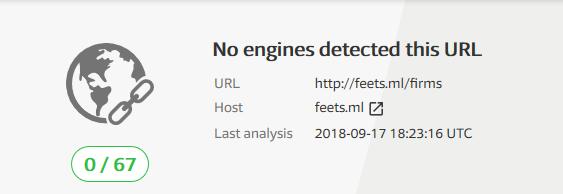 Figure 3. No engine detected the malicious URL per VirusTotal