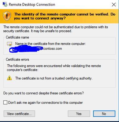 Remote Desktop Connection (RDP) - Certificate Warnings