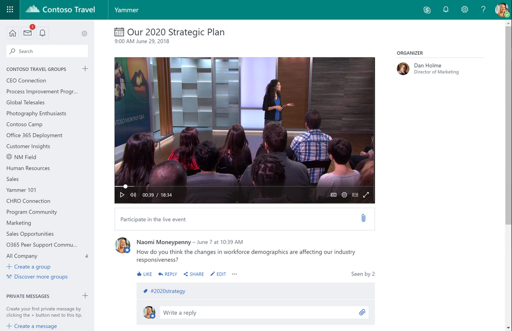 Schedule, produce and attend live and on-demand events in Yammer