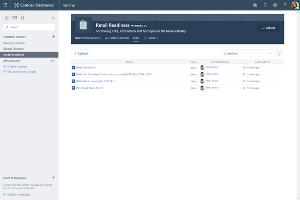 New files uploaded to Yammer will be stored in SharePoint by default for Office 365 connected groups
