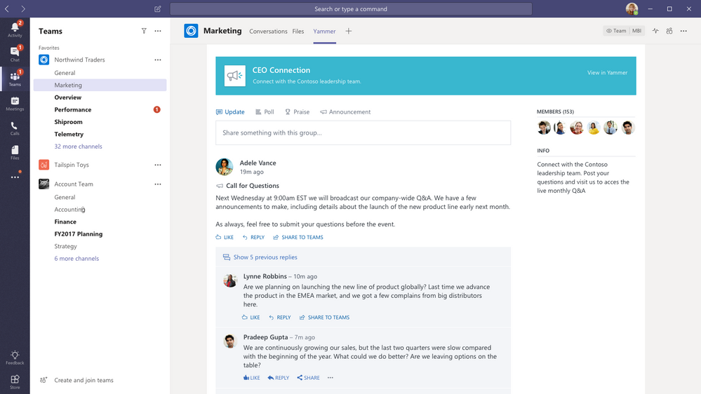 Connect your Yammer communities to your hub for teamwork in Microsoft Teams