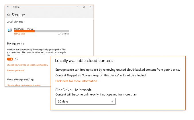 Files On-Demand management via Storage Sense