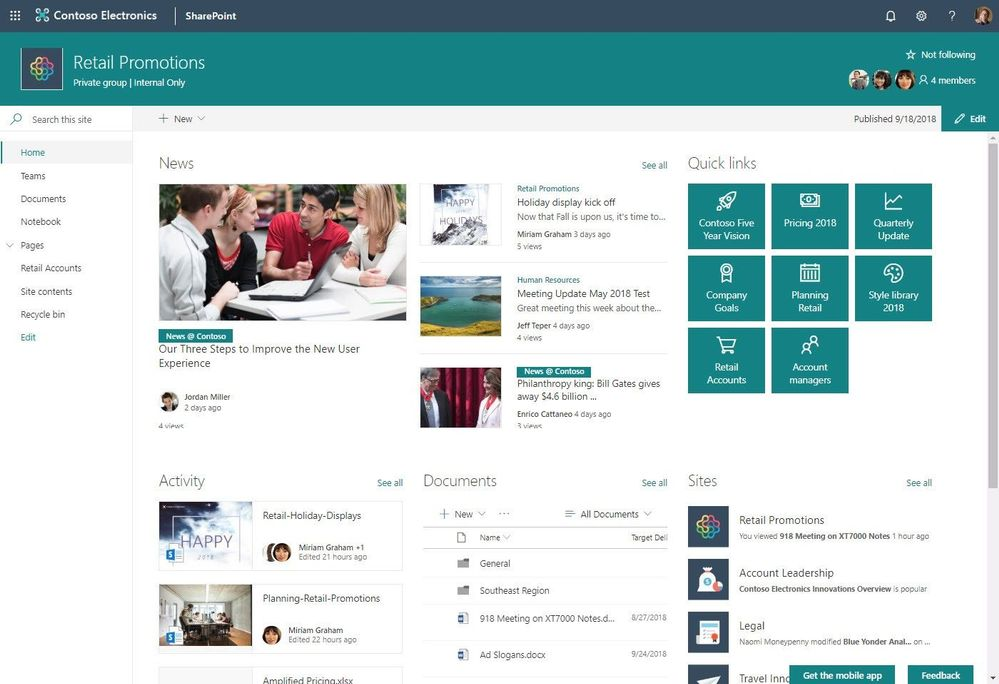 Group-connected SharePoint team site homepage.