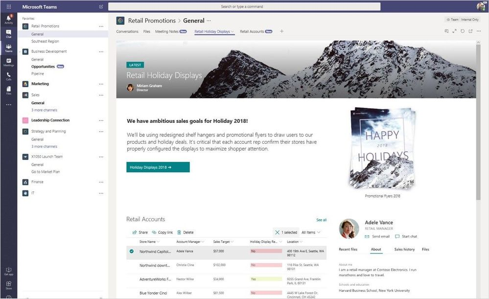 SharePoint and Microsoft Teams integration provides a rich content collaboration and communication hub for teamwork, in context of where people work together and get work done.