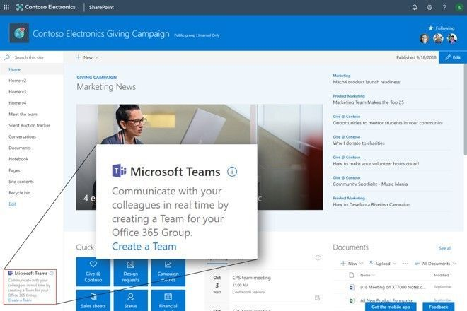 Create a Microsoft Team for your Office 365 Group from within your SharePoint team site.