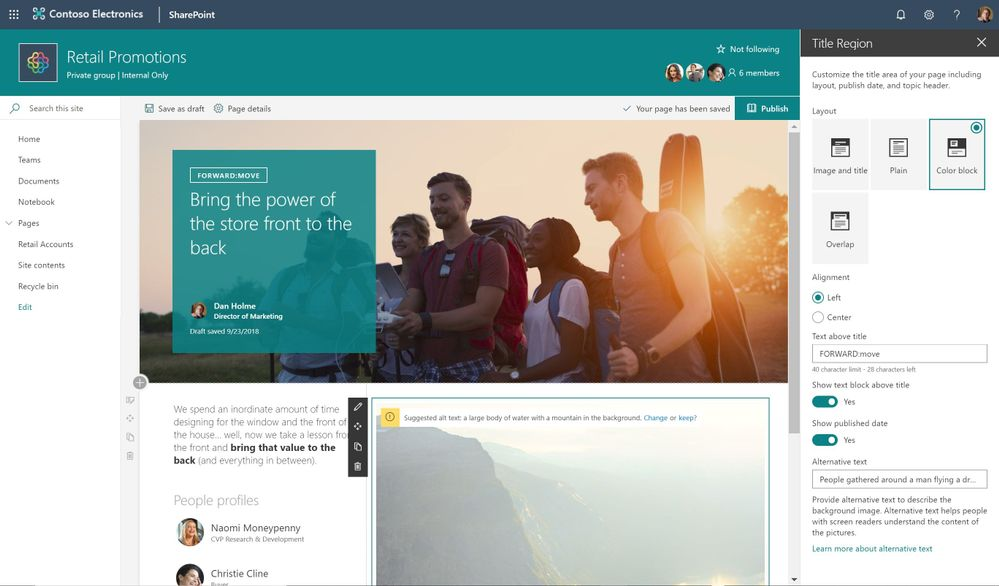 The title region of a SharePoint page can now be displayed in various layouts.