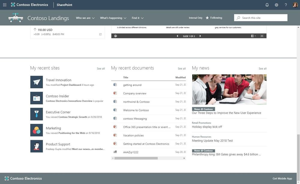 Place powerful, personalized web parts on the page to show the user who is logged in their recent sites, documents and news tailored to them.