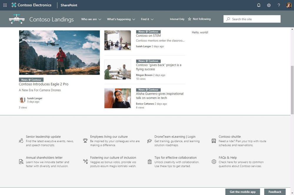 SharePoint news webpart showing organizational news coming from the News @ Contoso site.