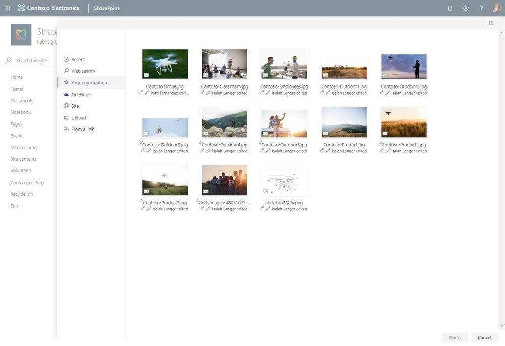 Choose approved photos from Your organization when placing them on your site pages or news articles.