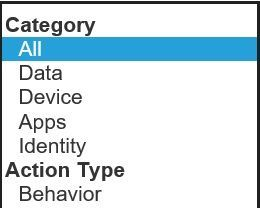 """Category options to filter on in the """"Take Action, Improve Your Microsoft Secure Score"""" section"""