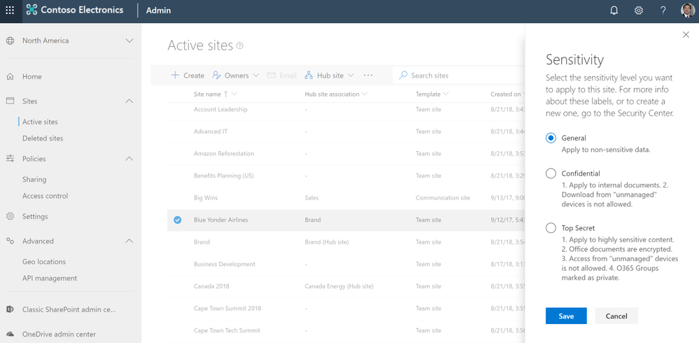 Applying sensitivity labels to a SharePoint site