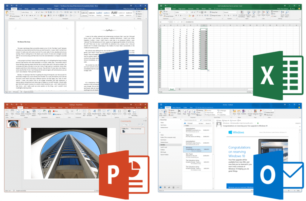 Example screenshot of Microsoft Word, Excel, Powerpoint and Outlook