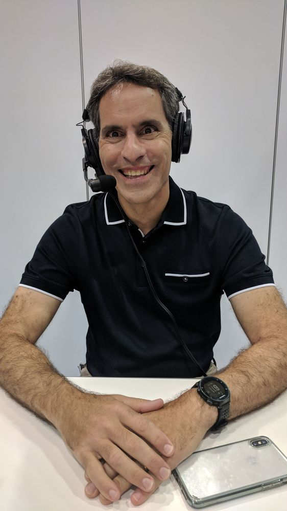 """A smiling Jeff Teper during the recording of this episdoe of The Intrazone, """"Catching up with Jeff Teper at Ignite 2018"""""""