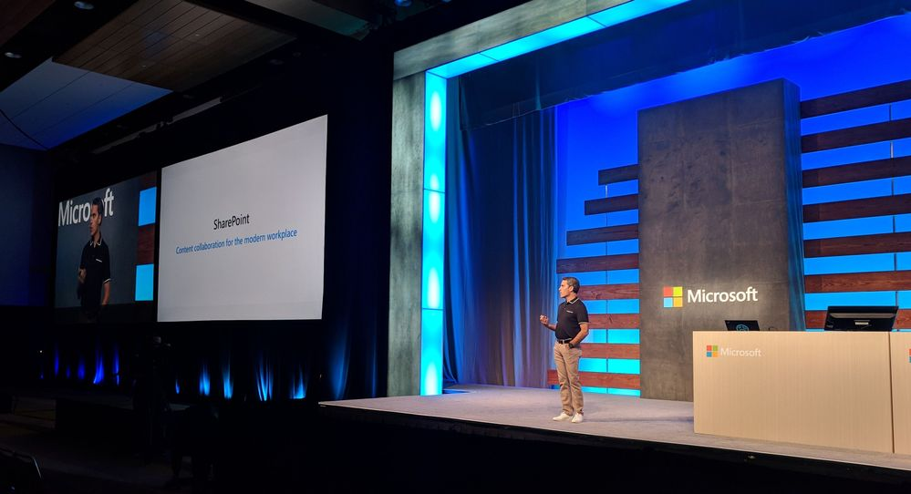 Wider shot of Jeff Teper as he kicks off the SharePoint, OneDrive and Office general session at Ignite 2018 in Orlando, FL.