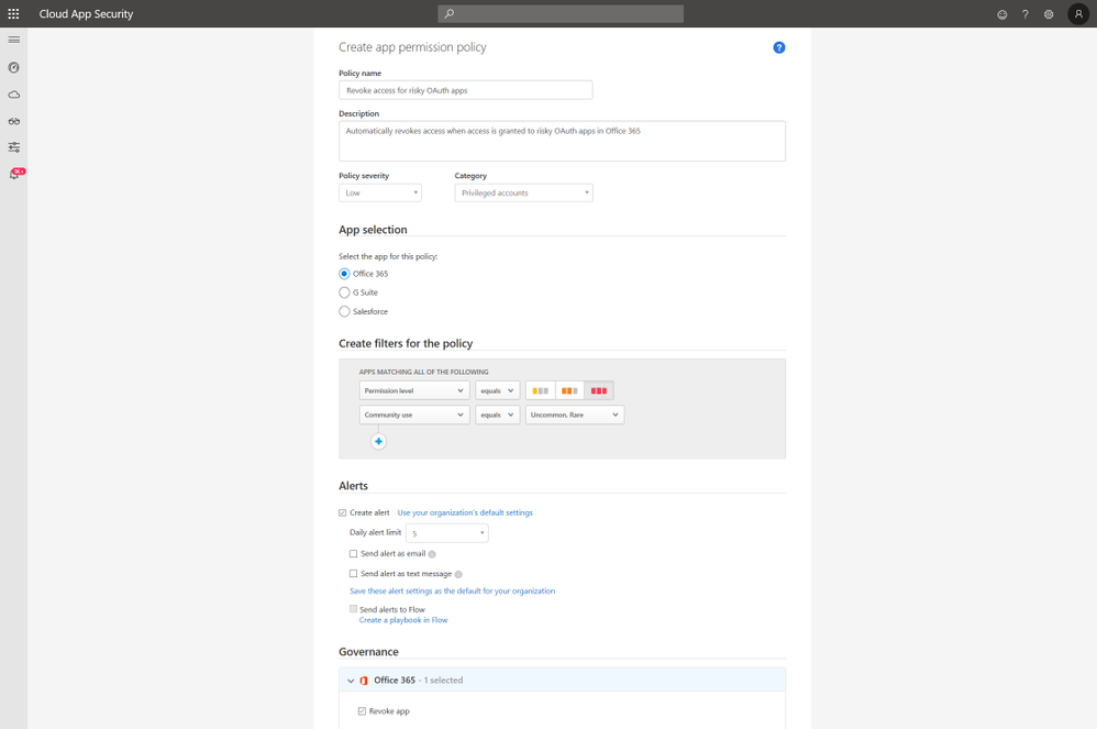 Image 3: Create App Permission policies to govern risky OAuth apps across O365, G-Suite and Salesforce