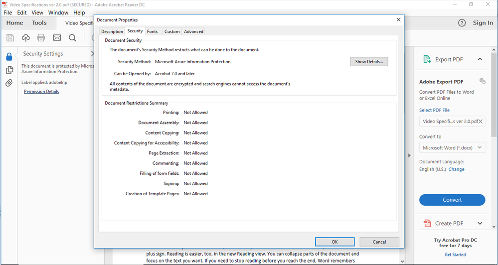 Example of an enlightened application opening a PDF document protected with Microsoft Information Protection solutions