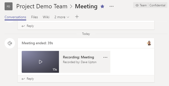 Recording made available in Team Channel
