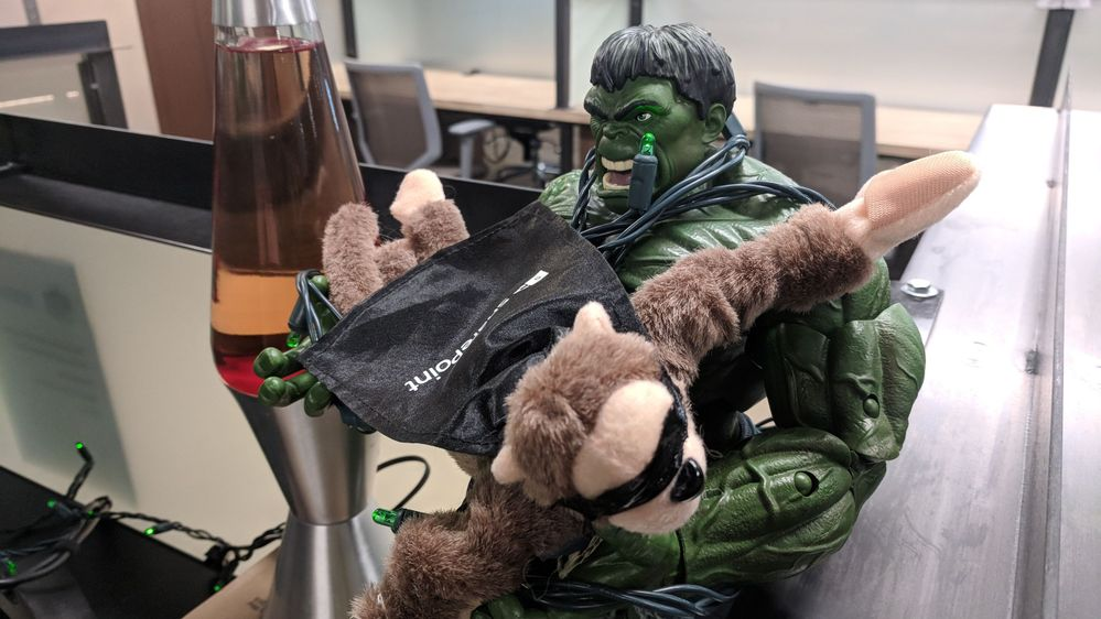 The Incredible Hulk battling with The SharePoint Monkey for balance in the world of productivity at Funko Inc. (Everett, WA).