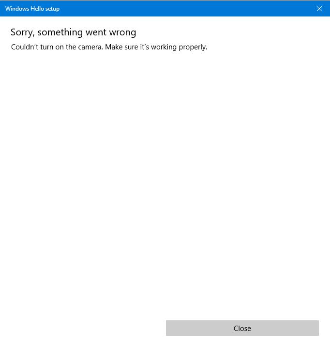 Windows Hello Something Went Wrong