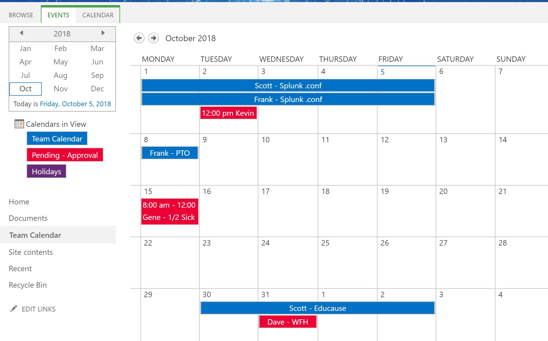 Team Kalender